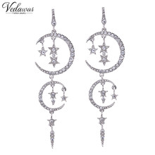 Vedawas New Luxury Full Crystal Mulilayer Star Moon Pendant Earrings Fashion Women Statement Earrings Accessory 1206