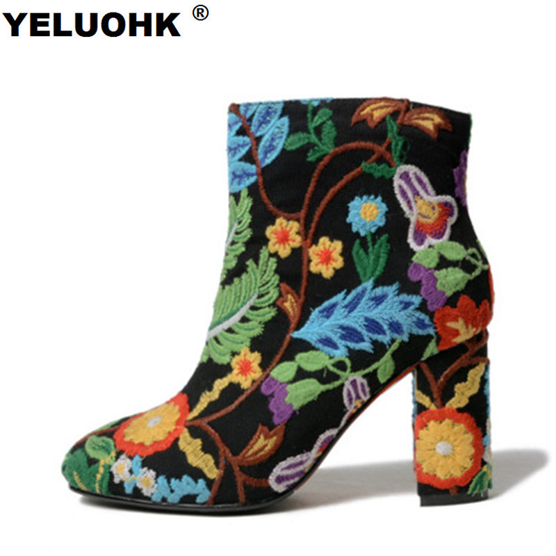 New Embroider Boots Female Autumn Fashion Ankle Boots For Women High Heels Retro Women Shoes Autumn Women High Boots Flower