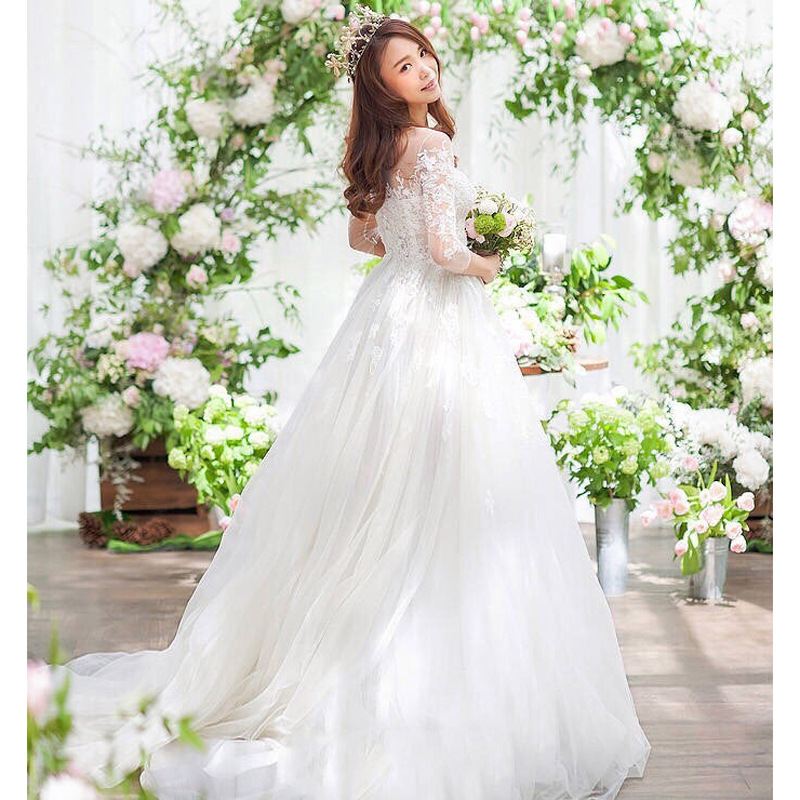 55d1350c21 US $49.72 17% OFF|New Fashion Simple 2018 Wedding Dresses Lace Three  Quarter Sleeve O Neck Elegant Plus size Vestido De Noiva Bride Q-in Wedding  ...