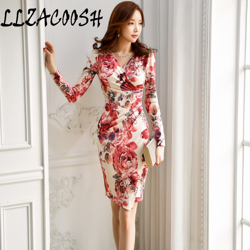 LLZACOOSH Womens Sexy V neck Floral Print Pencil Dresses autumn Long sleev Casual Work Party Bodycon Office Sheath Dress