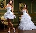 Последние дизайн уникальный свадебные платья с съемная юбка 2 шт. краткое невесты платья купить получить два стиль vestido де noiva