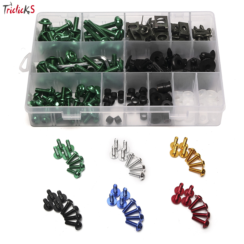 Triclicks 5mm/6mm Aluminium CNC Universal Motorcycle Fairing Bolts Nuts Fastener Clips Screws New For Suzuki Honda Yamaha Harley цены