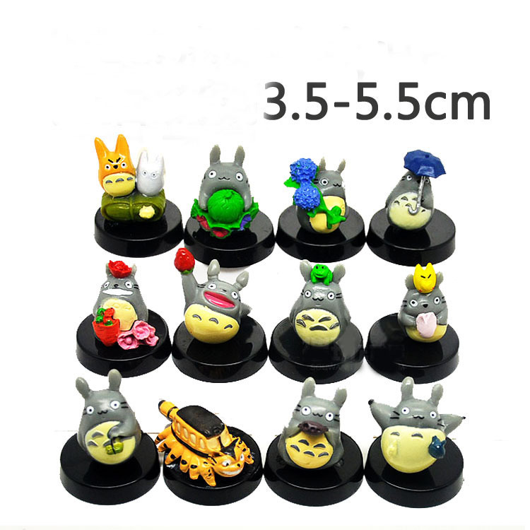 Free Shipping Cute 12 pcs/set Anime MOVIE My Neighbor TOTORO Figures with base for kid gift