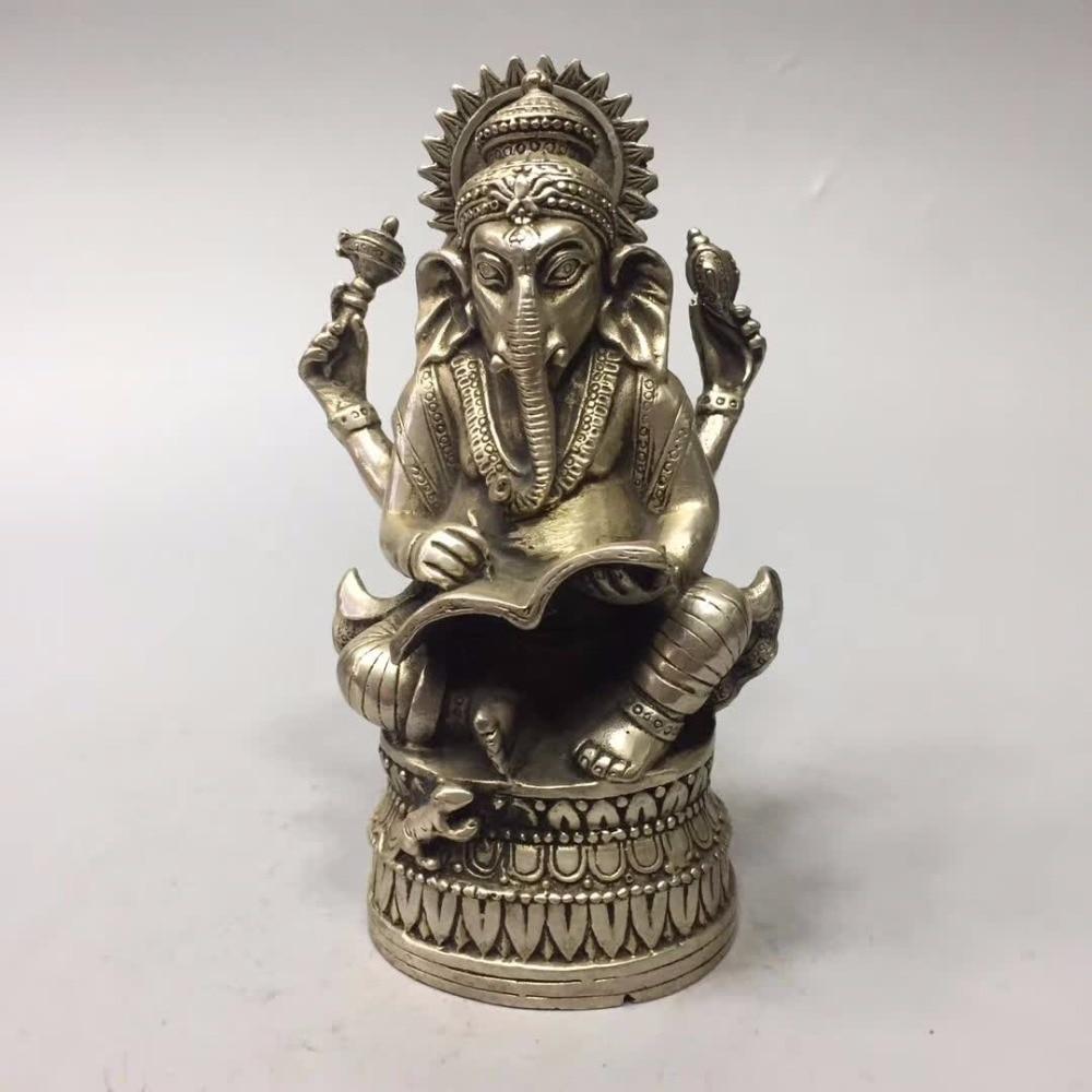 Collection tibet argent éléphant dieu statue, maison/bureau bureau décoration éléphant sculpture métal artisanat