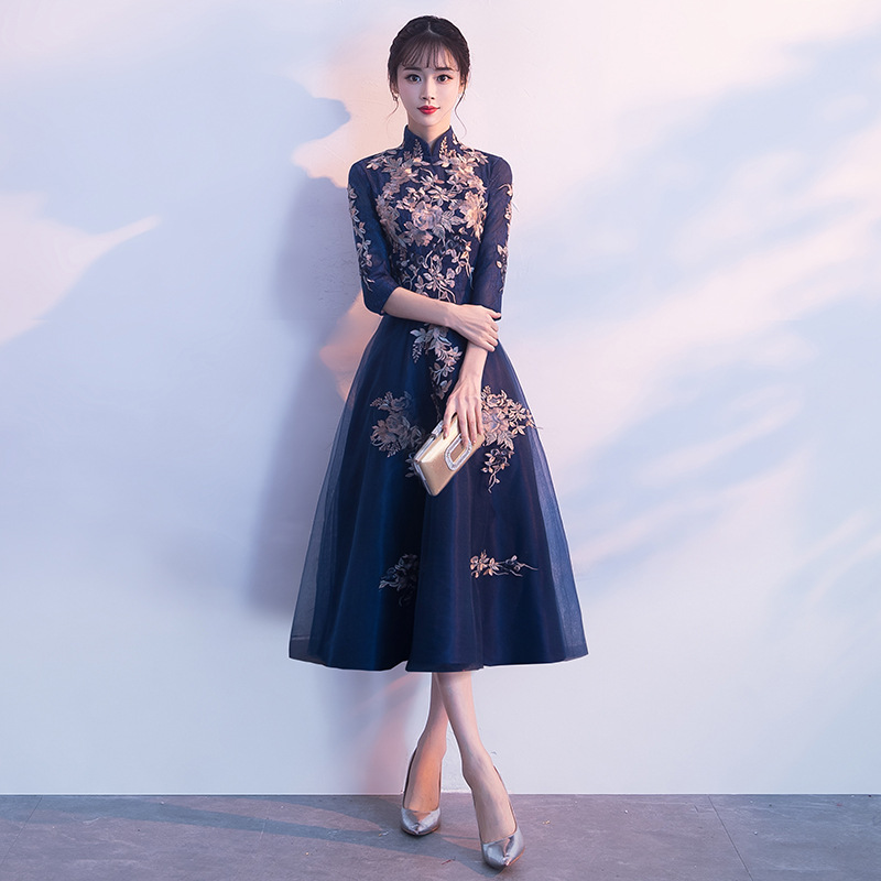 Sexy Chinese Style Dress Womens Slim Party Evening Long Cheongsam Marriage Gown Luxury Wedding Qipao Fashion