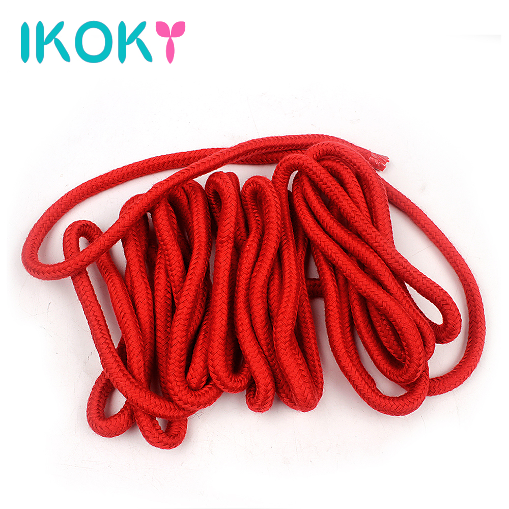 Buy IKOKY 4 Colors Soft Cotton Rope Flirting Sex Toys Couples Roleplay Slave SM Bondage Rope Restraint Adult Game 5 Meters