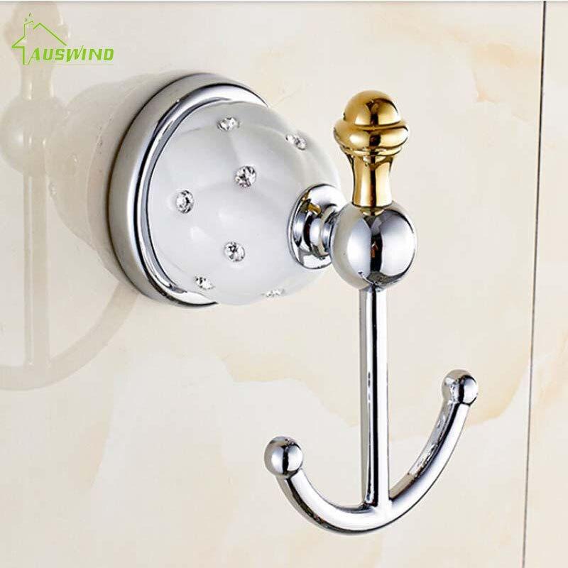 Golden Diamond Ceramic Robe Hook,clothes Hanging Hook solid Brass Golden Finish Bath Accessoryset Wall Mount Bathroom Hooks CC