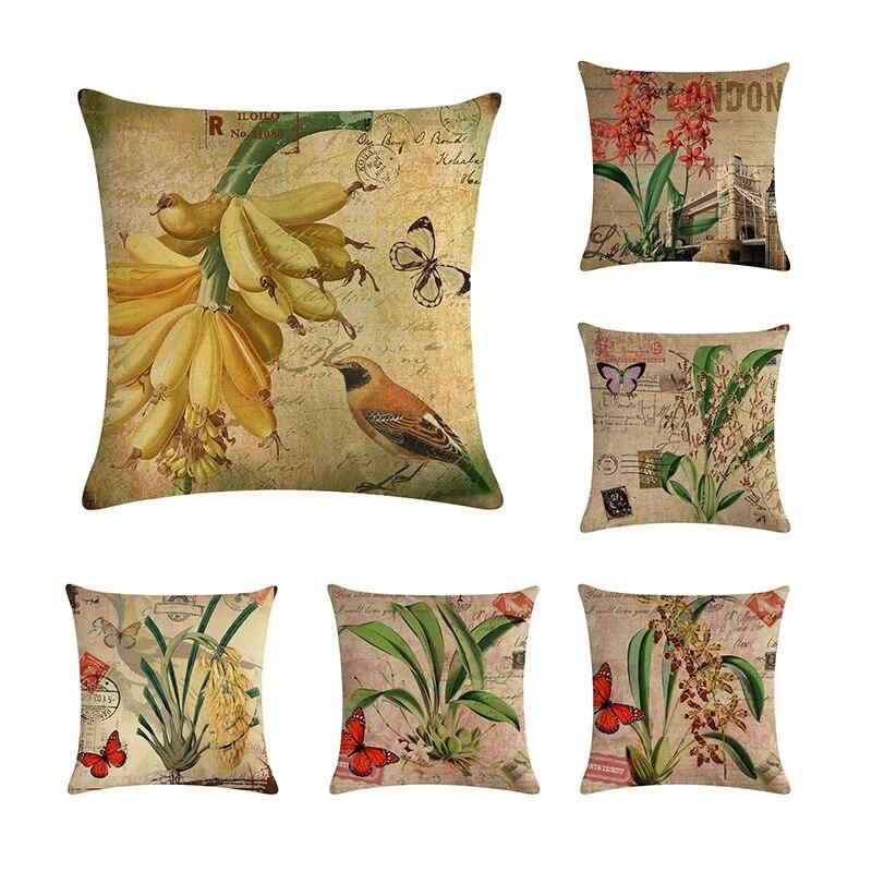 Romantic Flower Cotton Linen Throw Pillow Case Home Decor Waist Cushion Cover