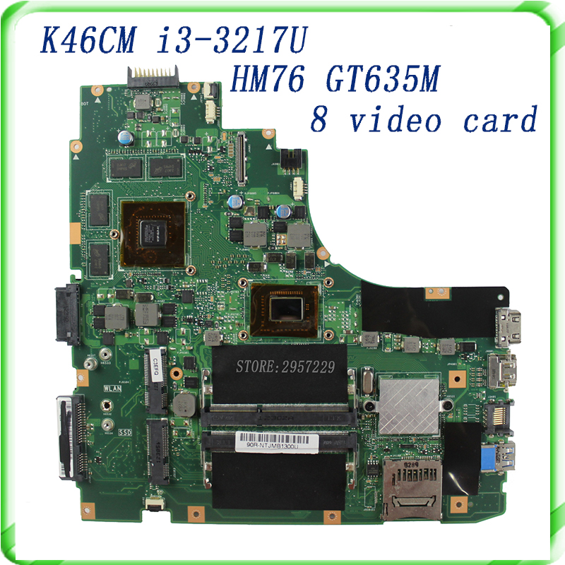K46CM REV 2.0 Laptop motherboard for non-Integrated i3 -3217U  HM76 GT635M 8 video card fully tested& free shipping original laptop motherboard mainboard for lenovo g565 z565 la 5754p with 4 video chips non integrated graphics card rev 2 0