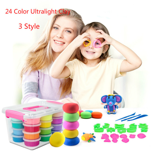24 Colors Ultra-light Clay Kids Education DIY Toy Non-Toxic Friendly Clay Plasticine Color Mud Clay Children Craft Toys