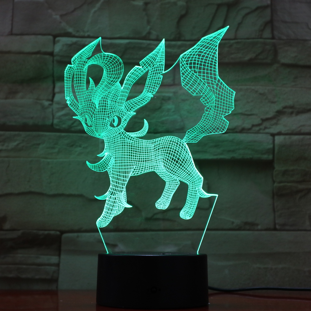 Pokemon Go Leafeon Figure Baby Nightlight LED Touch Sensor Color Changing Decorative Light Gift Table Lamp For Bedroom Leafeon