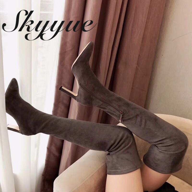 SKYYUE Genuine Leather Gladiator Over The Knee HIgh Thigh High Boots Pointed Toe Zip Side Thin High Heel Boots Shoes Women jialuowei women sexy fashion shoes lace up knee high thin high heel platform thigh high boots pointed stiletto zip leather boots