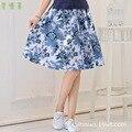 Nova impressão de algodão de mulheres saias azul flores silvestres estilo bohemian saia senhora saia