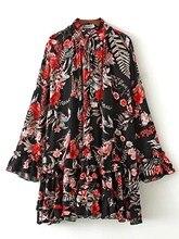 Мода Flare рукавом печатных платье сезон: весна–лето Свободные стенд воротник плиссированное платье Кружево до элегантных mdress