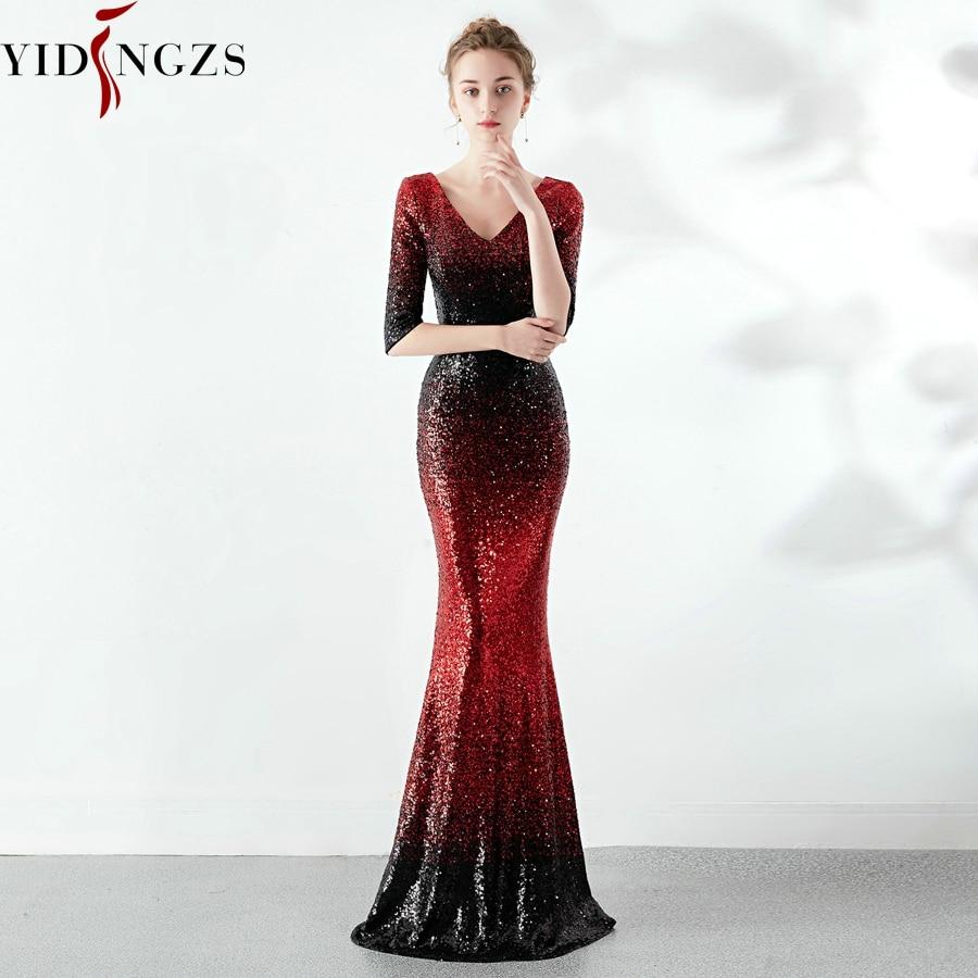 YIDINGZS New Mermaid Dark Red Sequins Prom Dress Half Sleeve Elegant Party Long Dress