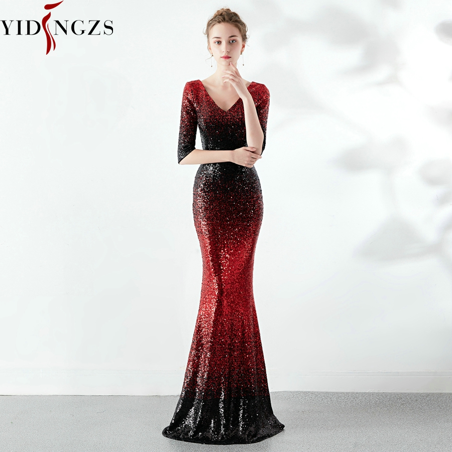 YIDINGZS New Mermaid Dark Red Sequins   Prom     Dress   Half Sleeve Elegant Party Long   Dress