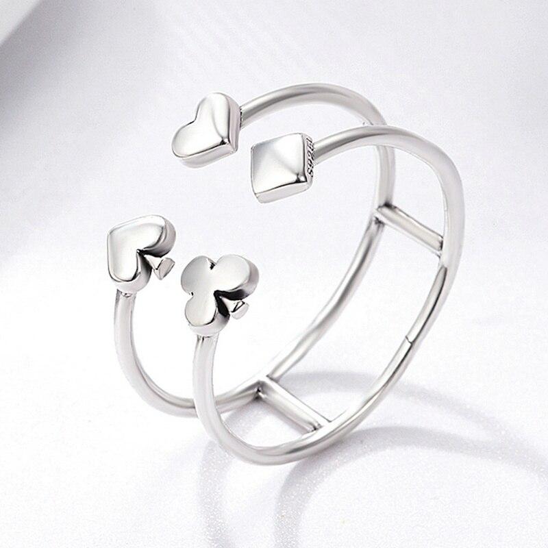 S925 925 Sterling Silver Poker Love Heart Geometric Open Finger Rings for Women Sterling Silver Jewellery Gift
