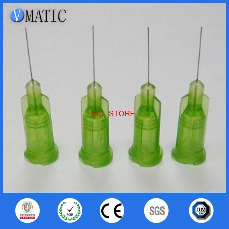 100pcs 34G Ctan 1/2 Tubing Length TE Premier Dispensing Tips Precision passivated S.S. Dispense Tip with PP Safetylok hub