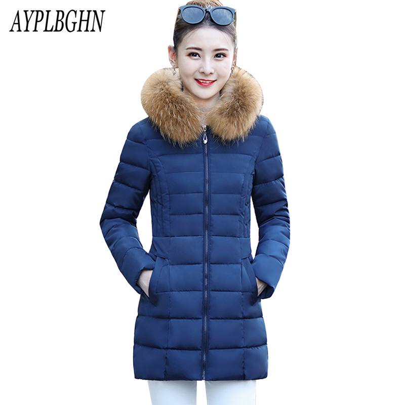 Plus Size Women Winter Jacket high quality New Thick Warm Padded-cotton Big Fur Collar Hooded Long Slim Coat Fashion Parkas 6L10 winter jacket women 2017 new parkas fashion slim long cotton padded coat warm hooded female thick jacket plus size outerwear