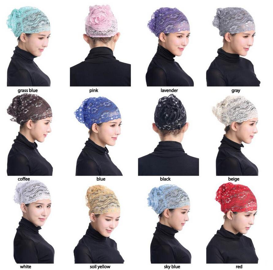 12 colors Womens Muslim Hijab Ladies Turban Islamic Bonnet Underscarf Inner Cap Tube Hat Elastic Headwear
