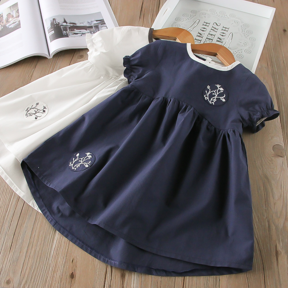 Hurave shorts Sleeve crew neck Clothes Children dresses causal solid cotton infant embroidery baby cute Dress laser cut insert bishop sleeve embroidery dress