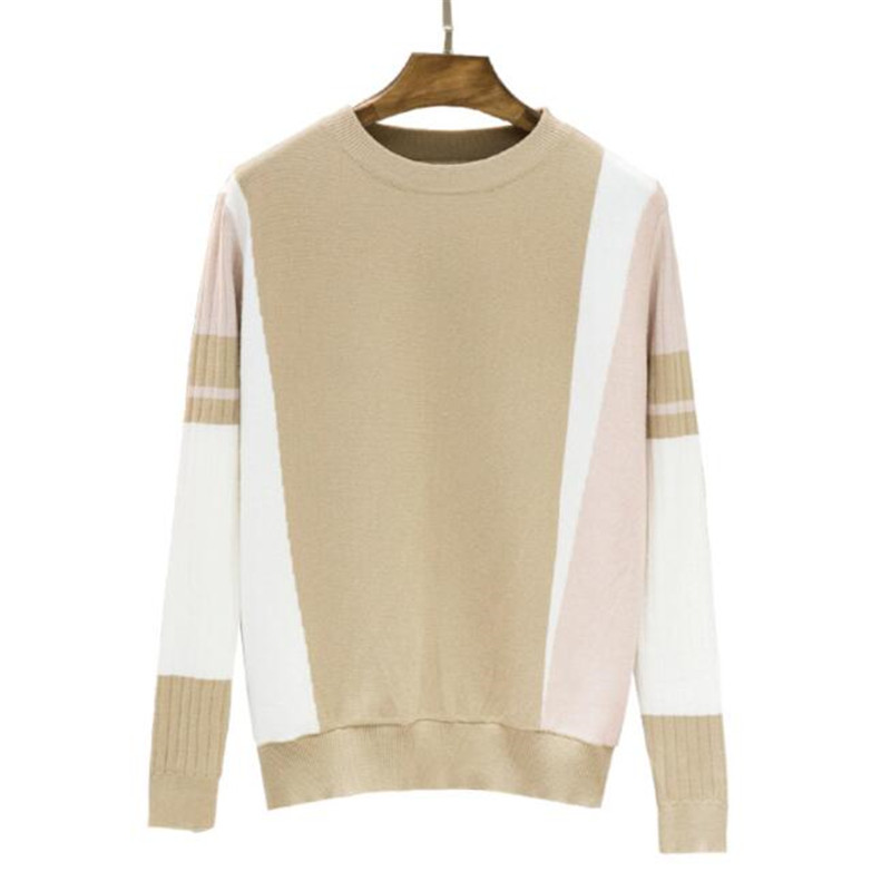 New 2018 Autumn Winter Sweater Women Contrast Color Pullover Jumper Long Sleeve O-Neck Knitted Tops Outwear Pull Femme