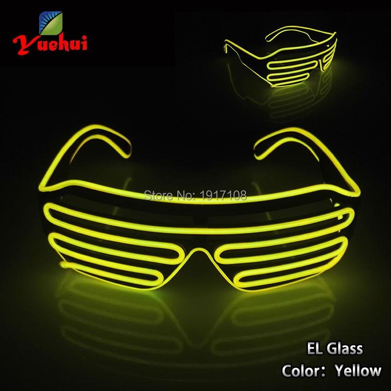 Yellow Flaring Glasses Bar Party Fluorescent Dance DJ Bright Glasses EL Wire Fashion Neon LED Light Glow Rave Luminous Glasses