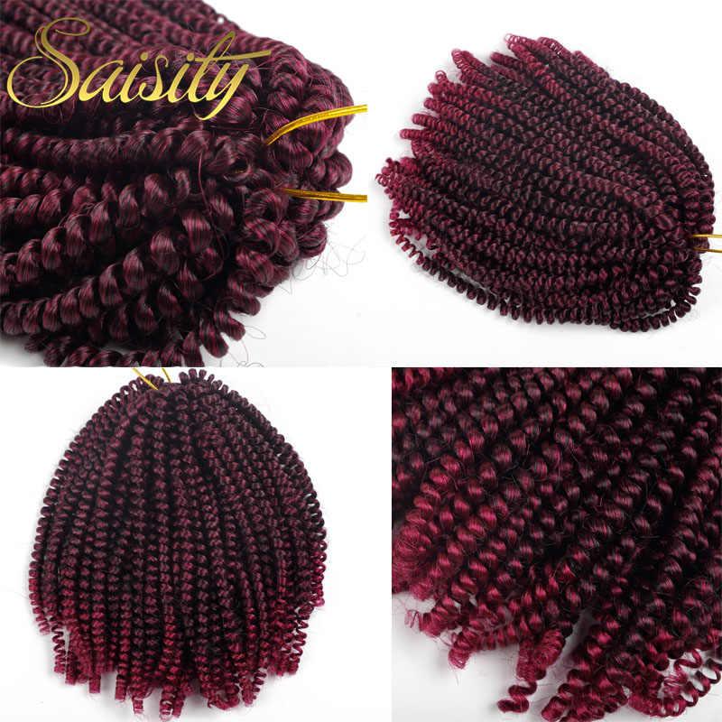 Saisity mullido primavera Twist extensiones de cabello negro marrón Borgoña Ombre Crochet trenzas pelo trenzado sintético 8 ''110g