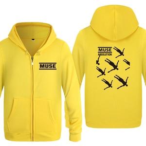 Image 4 - Muse Absolusion Rock Rap Music Sweatshirts Men 2018 Mens Zipper Hooded Fleece Hoodies Cardigans