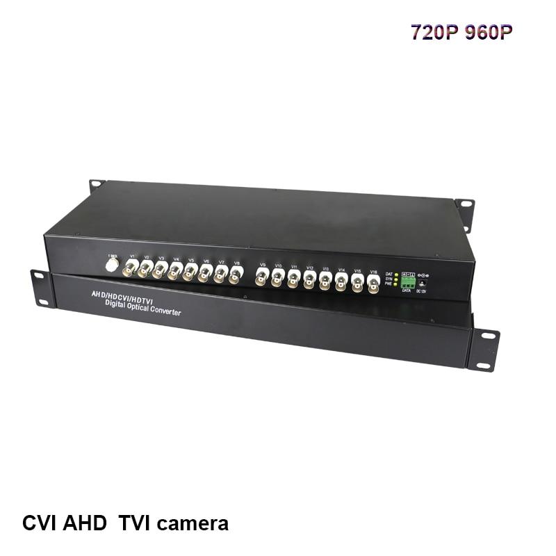 16 CH HD video AHD CVI TVI 720P 960P video fiber optic transmitter RS485 data receiver Hikvision Dahua cameras