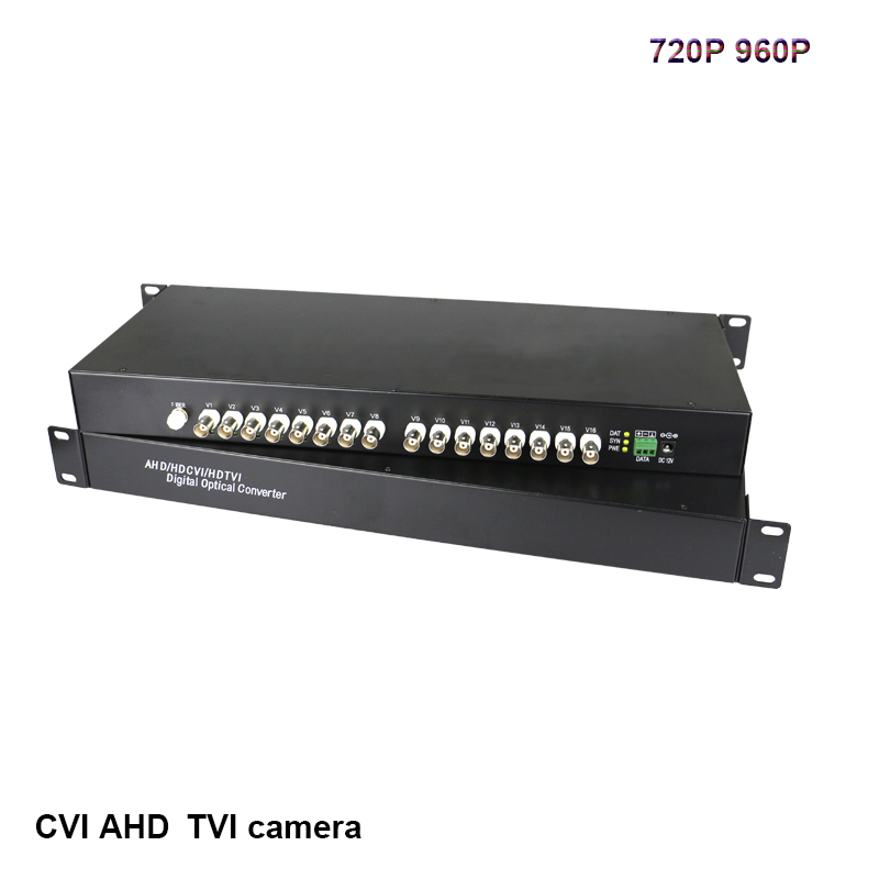 16 CH HD video AHD CVI TVI 720P 960P video fiber optic transmitter RS485 data receiver Hikvision Dahua cameras