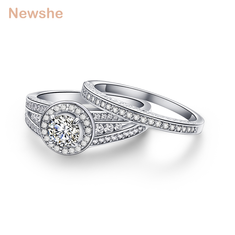 Newshe Halo Wedding Ring Sets For Women 2.6 Ct Cathedral Design Solid 925 Sterling Silver Engagement Rings Classical Jewelry гитара игрушечная росмэн с медиатором вспыш