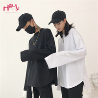 Woman Black Tops Tee 2018 Japan Korean Ulzzang Men Harajuku Long Sleeve Hem Split T shirts Female Loose White Couple T Shirt