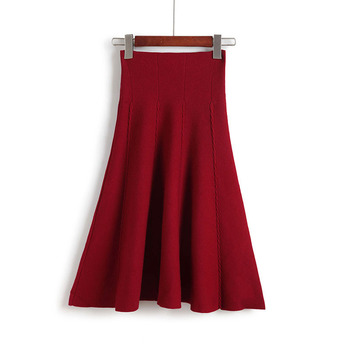 2019 Autumn Winter Knitted Skirt Women Midi High Waist A Line Knit Skirts One-pieces Seamles Pleated Elastic Thick Faldas 5
