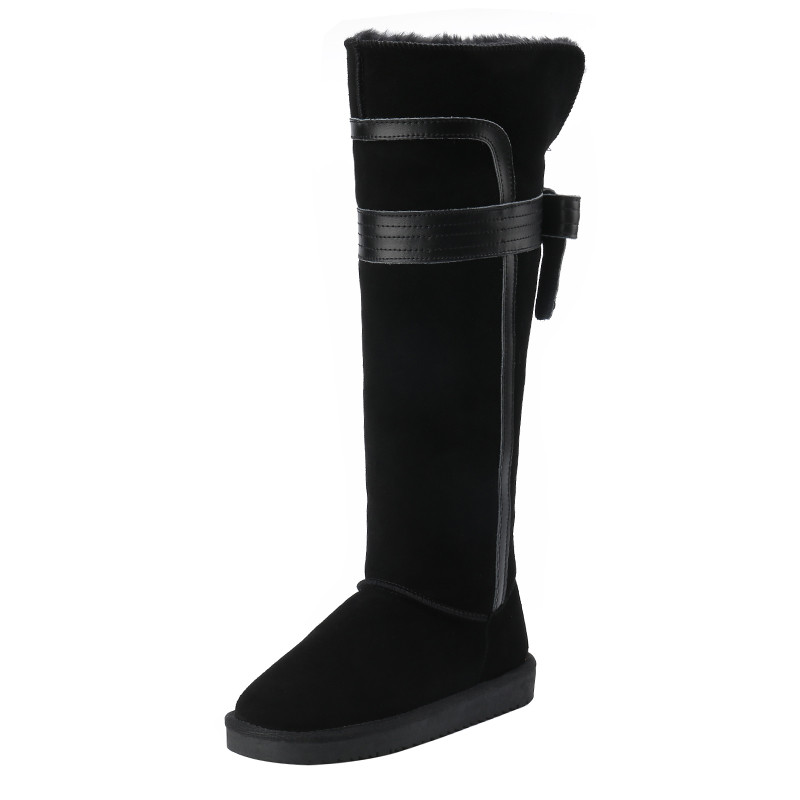 2017 Women Australia Classic Style Over The Knee Snow Boots Genuine Cow Leather Winter Warm Leather Snow Long Boots Top Quality