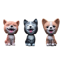 Farmhouse Home Decor 3.7 Resin Lovely Pomeranian Corgi Teddy Dog Figurine Cute Cartoon Shakeable Head Model Miniature For Car
