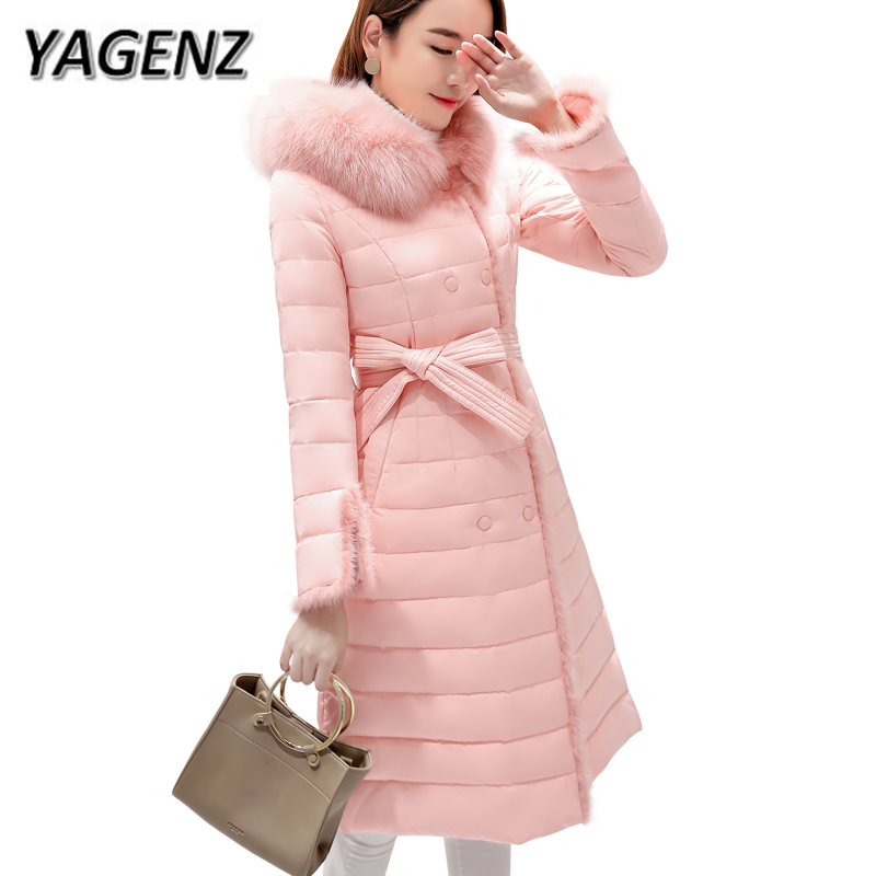 2018 New Winter Fox fur Fur collar Women Jacket Hooded Coats High-grade Slim Down Thick Warm Lady Long Outerwear Pink Gray Black 100% white duck down women coat fashion solid hooded fox fur detachable collar winter coats elegant long down coats