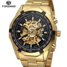 Forsining бренд серебро и золото Роскошные нержавеющая сталь водонепроницаемые мужские часы с скелетом прозрачные Механические Мужские наручные часы
