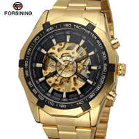 Forsining Brand Silver & Gold Luxury Stainless Steel Waterproof Mens Skeleton Watches Transparent Mechanical Male Wrist Watch