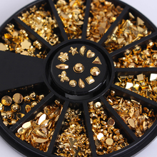 Gold Plated Metal Studs  12 Patterns in 1 Box 3D Nail Stars Manicure Nail Art Decoration in Wheel(Random Plate Color)
