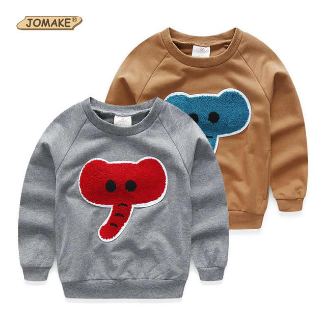 New Costumes For Kids Elephant Patched Children Sweatshirt Pullover Long Sleeve Kids Tops 2017 Spring Baby Boy Clothes 2-7 Years