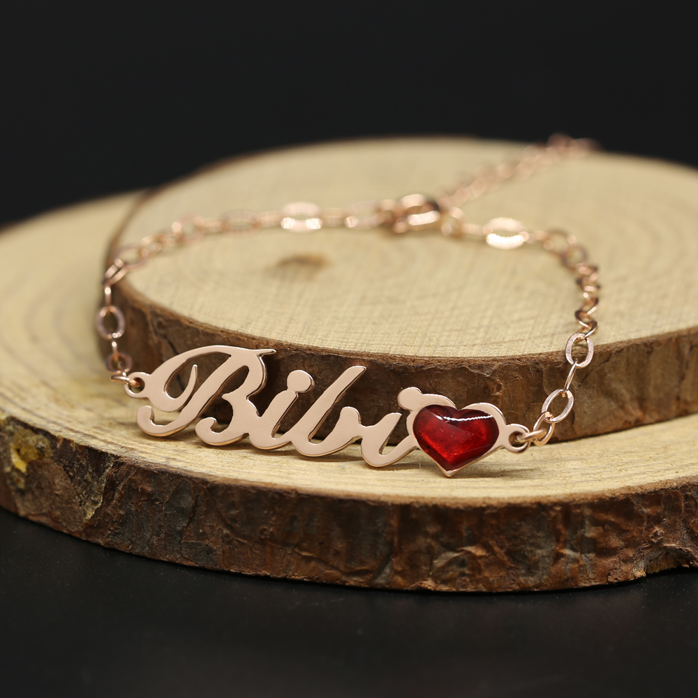 Personalized Name Bracelet with Red Heart Rose Gold Plate 925 Solid Silver Customized Gift stylish solid heart thick bracelet