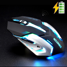 A8 2.4GHz Wireless Rechargeable Silent Gaming Mouse 1600DPI 7 Colors Backlit Breath USB Optical Ergonomic Gamer Mouse PC Laptop