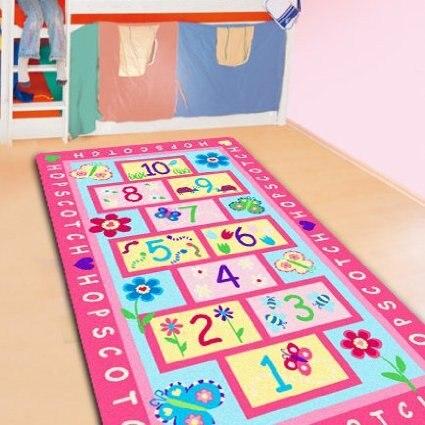 Fashion Hopscotch Kids Carpet Bedroom,Sweet Pink Rug,Designer Figure Childrens Rugs