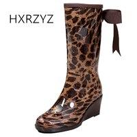 HXRZYZ botas de goma de las mujeres cuñas botas de lluvia con cremallera primavera / otoño 2017 damas de moda pajarita leopardo antideslizante zapatos de mujer
