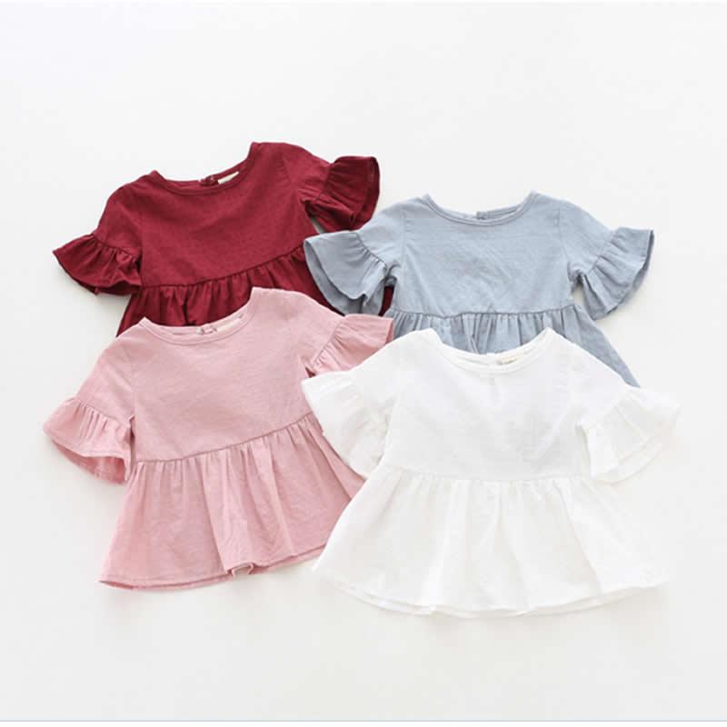 Kūdikių mergaičių marškinėliai Vasaros Naujosios mados palaidinės Merginos Lotus lapų marškinėliai Trumpas rankovėmis vaikiškas marškinėliai lėlės Korėjos versija Epacketas