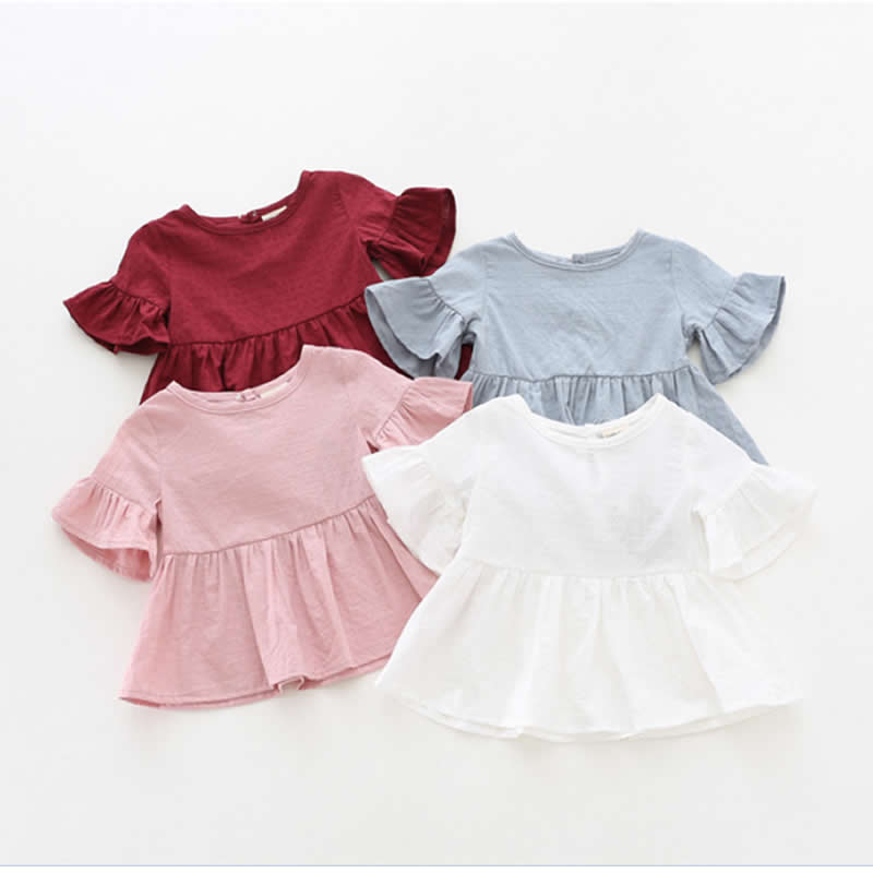 बेबी गर्ल्स शर्ट्स समर न्यू फैशन ब्लाउज गर्ल्स लोटस लीफ शर्ट शॉर्ट - स्लीव्ड टॉडलर शर्ट डॉल कोरियन वर्जन एपैकिट
