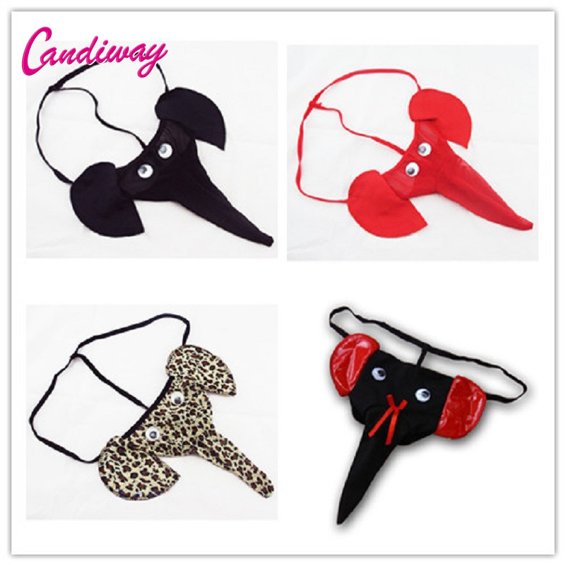 Hot Mens Sexy Lingerie Underwear Ptanies G-string Elephant Cock Ring Men's Thongs Male Sexy Transparet Underwear Tanga Under