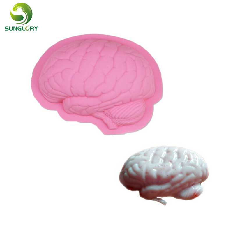 Brain Shape Silicone Cake Mold Scary Zombie Brain Jello Gelatin Mold For Zombie Food Halloween Cake Horror Prop Costume Baking image
