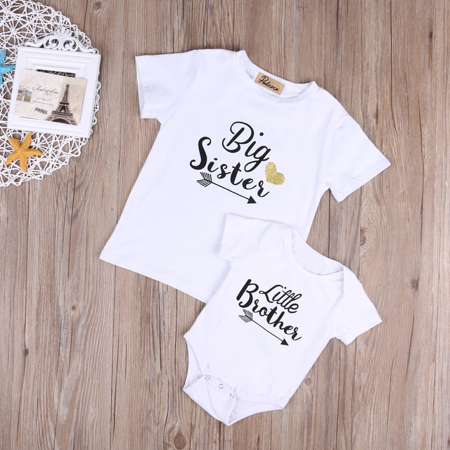 Cute Family Set NEW 2017 Newborn Baby Boys Short Sleeve Romper Girls Short Sleeve T-shirt Tops Outfits 3